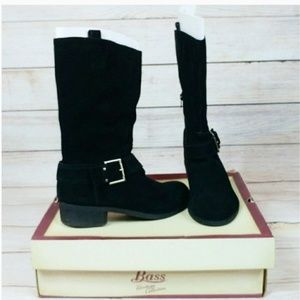 Bass Shoes - Bass Black Suede Leather Mid Calf Buckle Boots